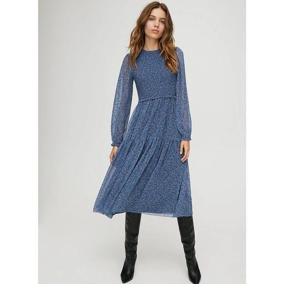 Aritzia Wilfred Blue Floral Rosalyn Dress Small